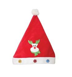 - Yılbaşı Kadife Noel Baba Şapkası Geyik Figürlü